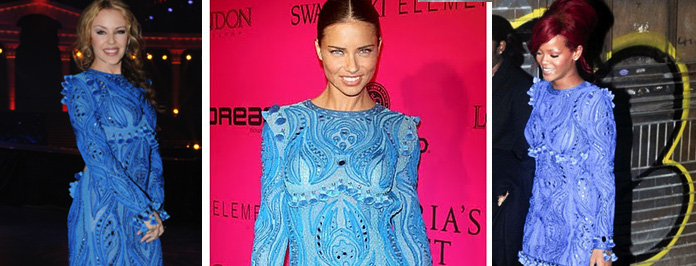 Swagger Jack! Rihanna VS. Adriana Lima VS. Kylie Minogue In Emilio Pucci Blue Dress