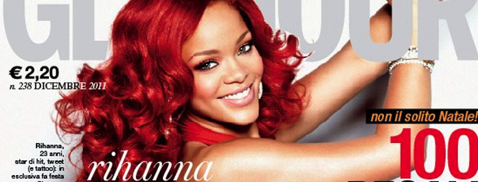 Red Hot Rihanna Front Cover For Italian Glamour Mag December 2011