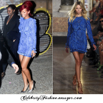 RIHANNA  IN EMILIO PUCCI BLUE EMBROIDERED DRESS