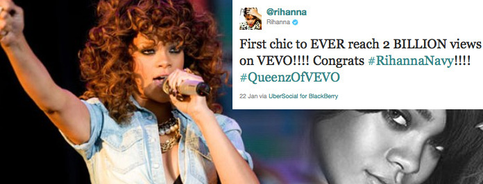 Rihanna Is the Most Watched Female Artist On VEVO With Over 2 Billion Views