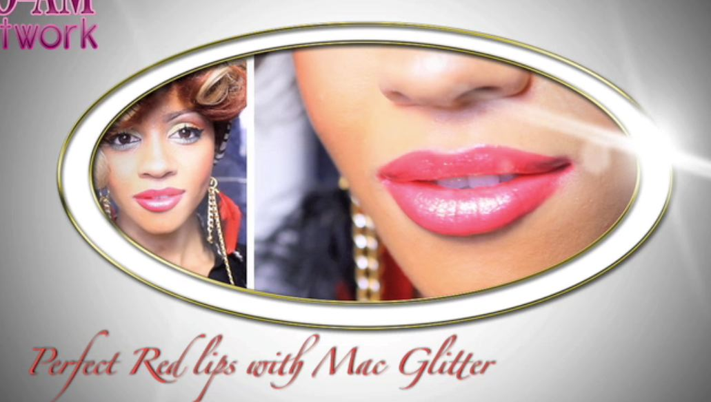 perfect red lips and mac glitter