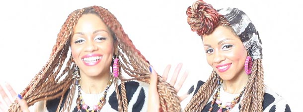 Senegalese Twists, Pin Up Style With Head Scarf