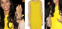 I Want Her Celeb Look- Rochelle Humes Yellow Dress London Fashion Week
