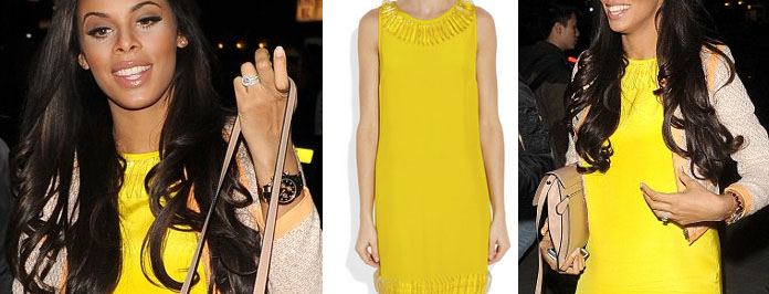 I Want Her Celeb Look: Rochelle Humes Issa Yellow Dress London Fashion Week