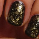 Amazing Liquid Gold Needle Marble Manicure Tutorial