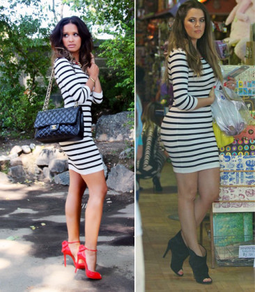 Who Wore It Best: Khloe Kardashian or Rocsi Diaz Intermix Contrast Zipper Striped Dress