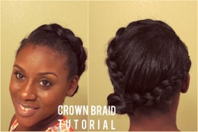 Straightened Natural Hair | Elegant Crown Braid Tutorial