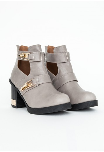 Araika Cut Out Detail Ankle Boots In Grey