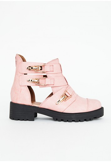 Zulmira Ankle Boots With Cut Out Detail In Dusky Pink