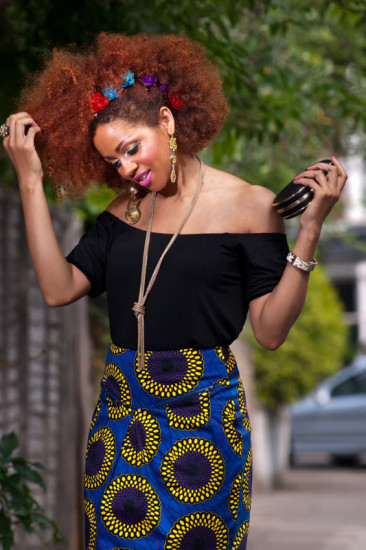 African inspired Print: Blue Sunflower Midi Skirt