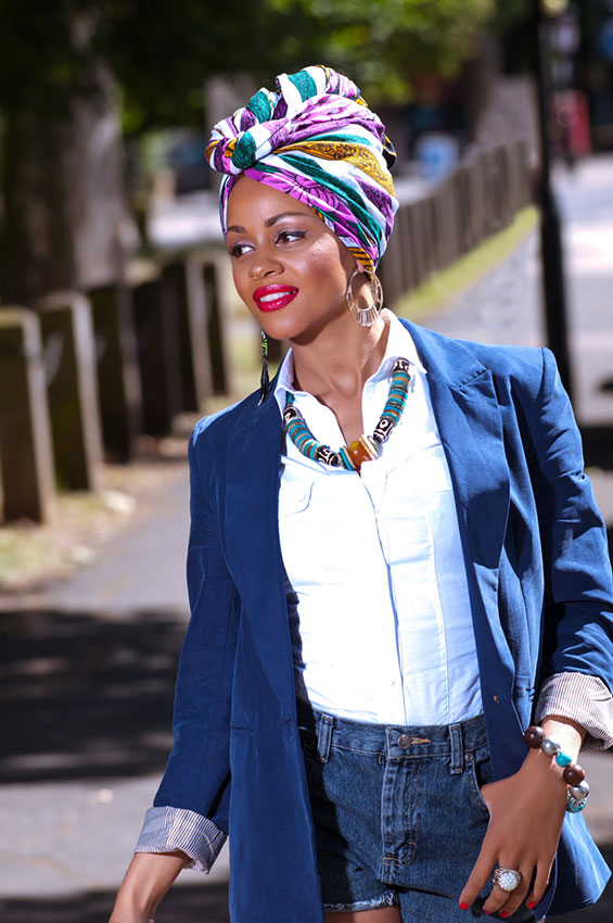 Casual Elegance Denim Shorts Blue Blazer Head Wrap