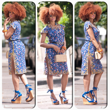 Zanjoo Lookbook: Sexy Split African Dress & Blue Wedges