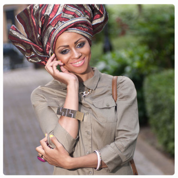 African Gele Head Wrap & Faux Leather Liquid Leggings