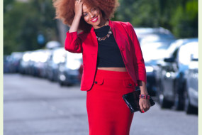 Red Alert: Blazer Jacket & Pencil Skirt