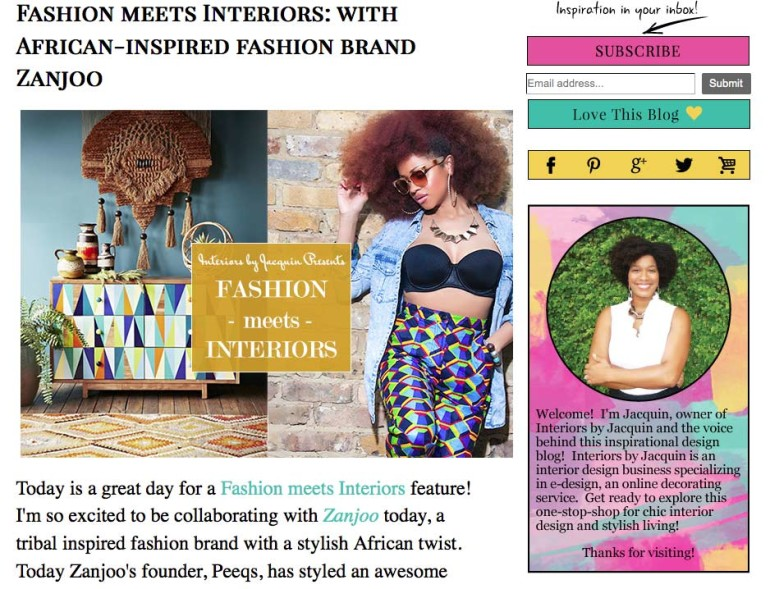 Fashion meets Interiors: Zanjoo Feature